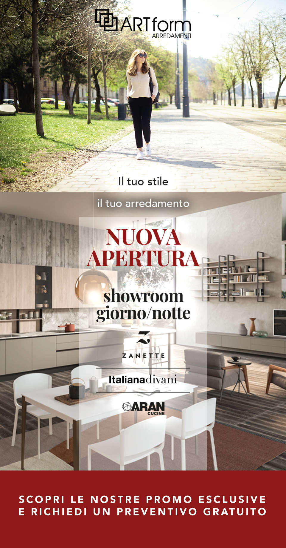 landing page mobile Art Form nuovo showroom main